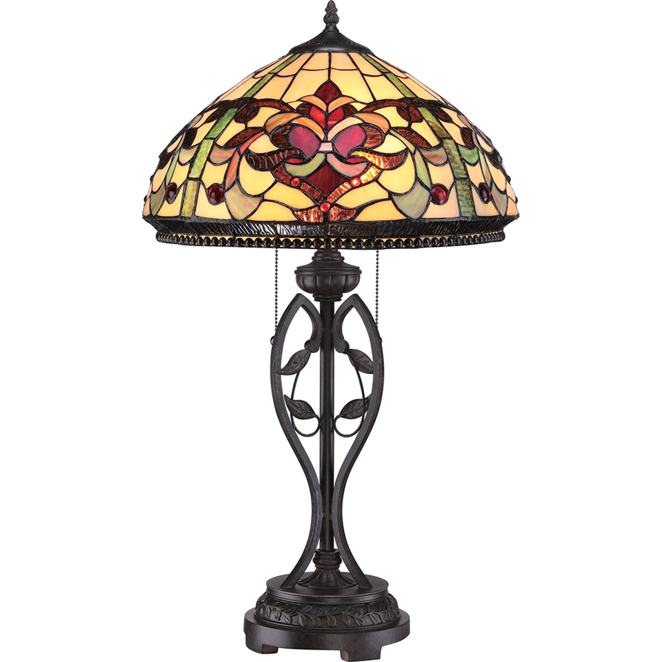 lampe de table pied sculpte de feuilles abat jour dome en verre motifs abstraits tons chauds