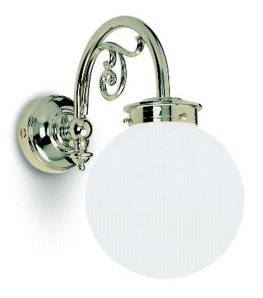 art deco bathroom wall light in chrome plated brass floral details and opal glass sphere ip44