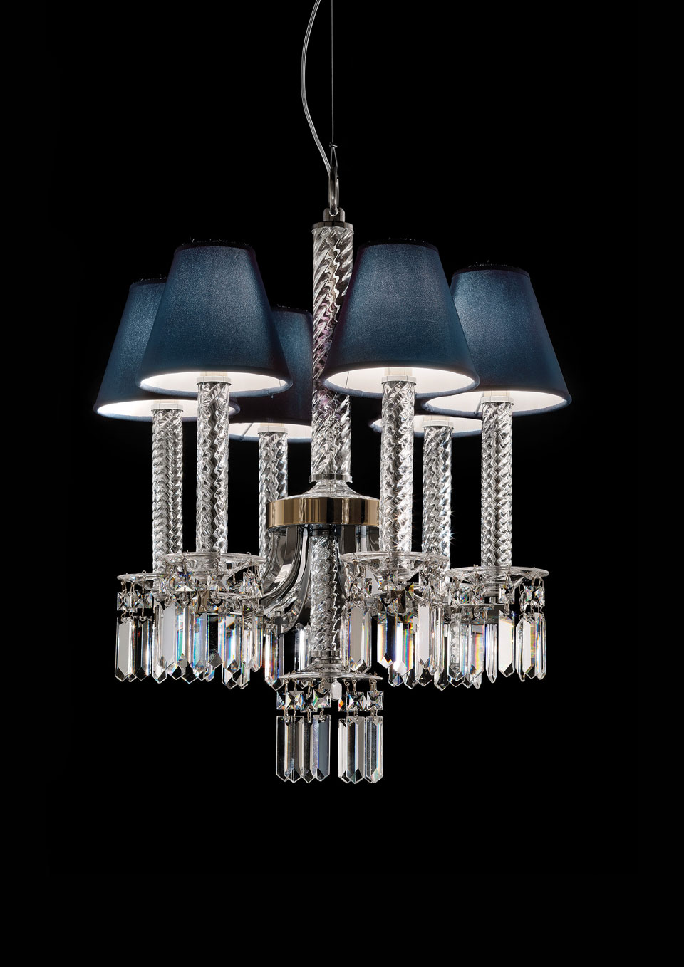 crystal chandelier chrome plated and gold metal navy blue lampshade