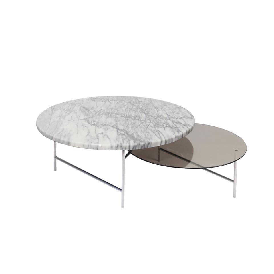 table d appoint a structure chromee et deux plateaux