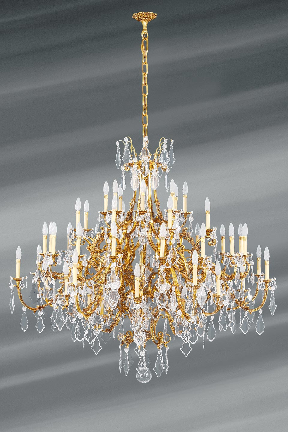 tassel chandelier in cut crystal patinated bronze old gold 56 30 or 80 lights available without crystals