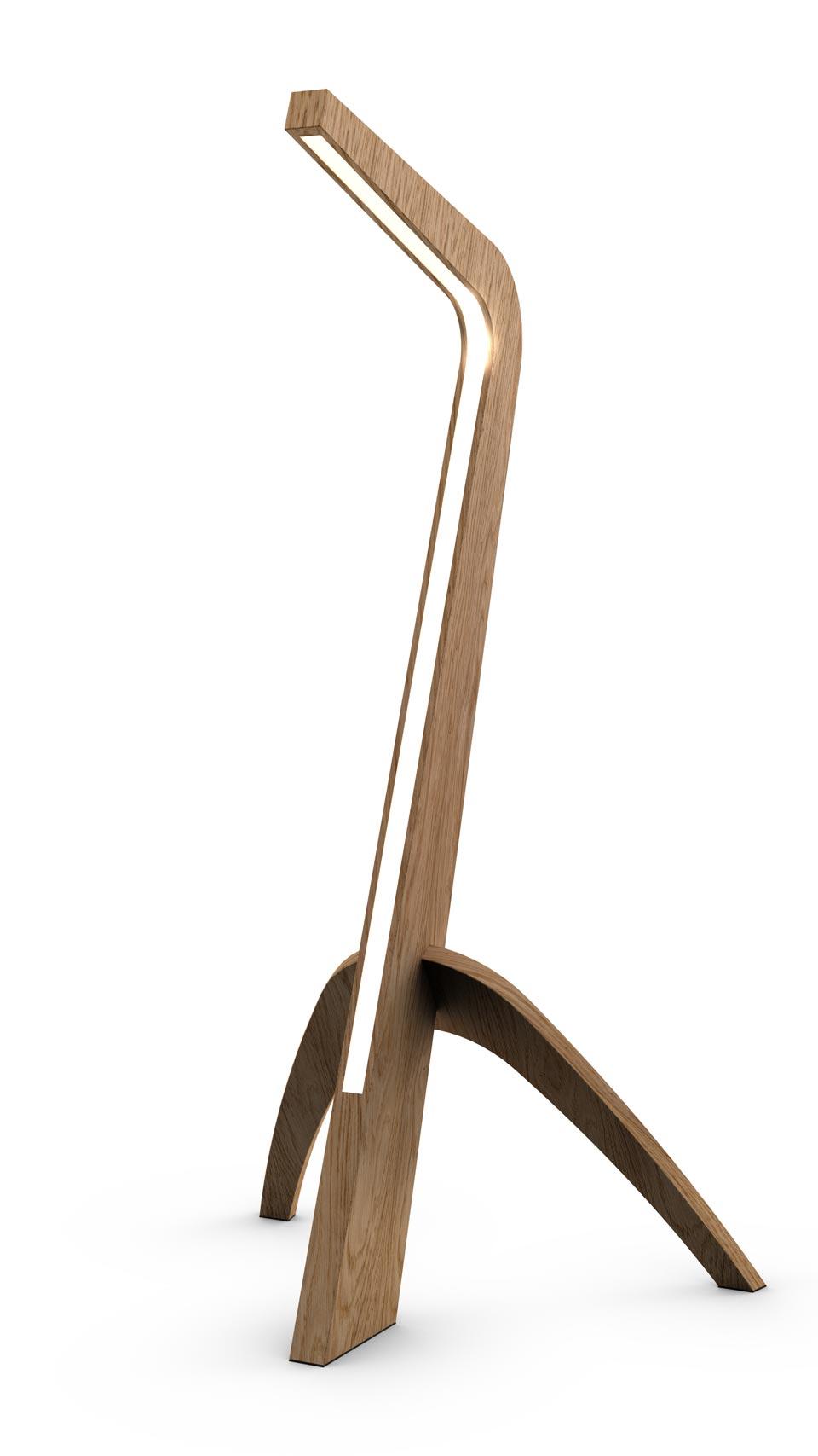 lampadaire trepied design eclairage led disponible en 5 essences de bois