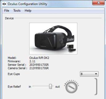 Oculus Rift Tray Tool configuration screenshot