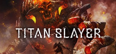 titan slayer review - warrior with sword and shield and titan with fire and smoke