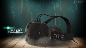 htc headset with valve logo on wood floor and microchip background