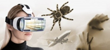 vr anxiety and phobia treatment woman wearing vr headset with spider airplane