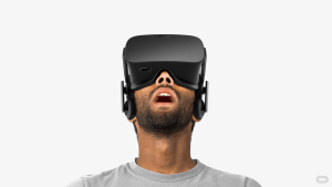 VR headset with mouth open