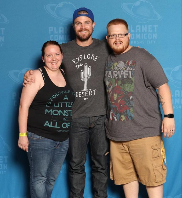 Tyler with Stephen Amell from Green Arrow