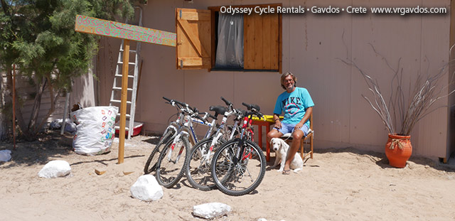 Odyssey Gavdos rental bikes. Nikos and Ares. Hard at work.