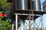 De nieuwe watertoren met de 4 tanks van ieder 10.000 liter