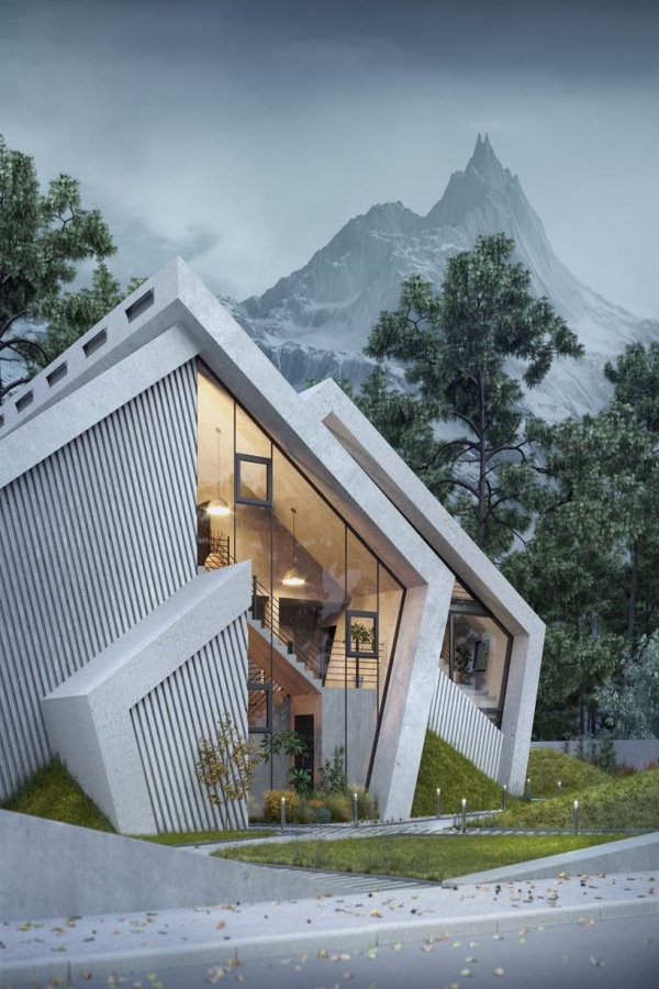 65 Mountain Cabin Plans Hillside Elegant the Concrete Pentahouse by Wamhouse is Inspired the Shape Of