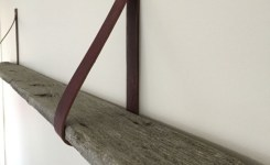 74 ideas strap shelf bracket awesome our new leather strap shelf plete with naturally aged barn board
