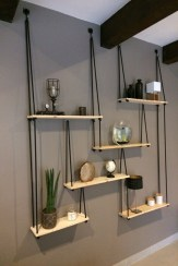 88 Wood Shelves with Metal Brackets Elegant Diy Natural Wood Shelves with Rope and Hooks