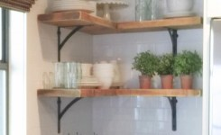 "88 wood shelves with metal brackets fresh shanty sisters on instagram ""simple corner shelves we bought 4"