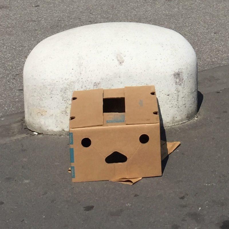 Close up van doos waar een angstig gezichtje in te zien is