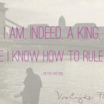 """Quote: """"I am, indeed, a king, because I know how to rule myself"""" met kasteel van Budapest op de achtergrond"""