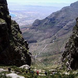 Tafelberg beklimmen via Platteklip Gorge, Kaapstad, Zuid-Afrika
