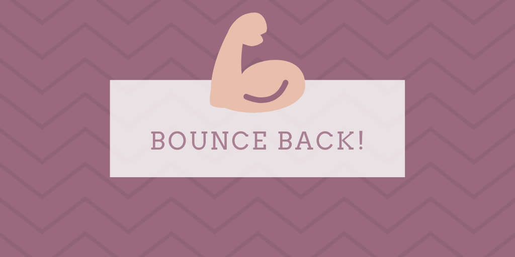 'Bounce back' motivatie quote voor herstellen na tegenslag