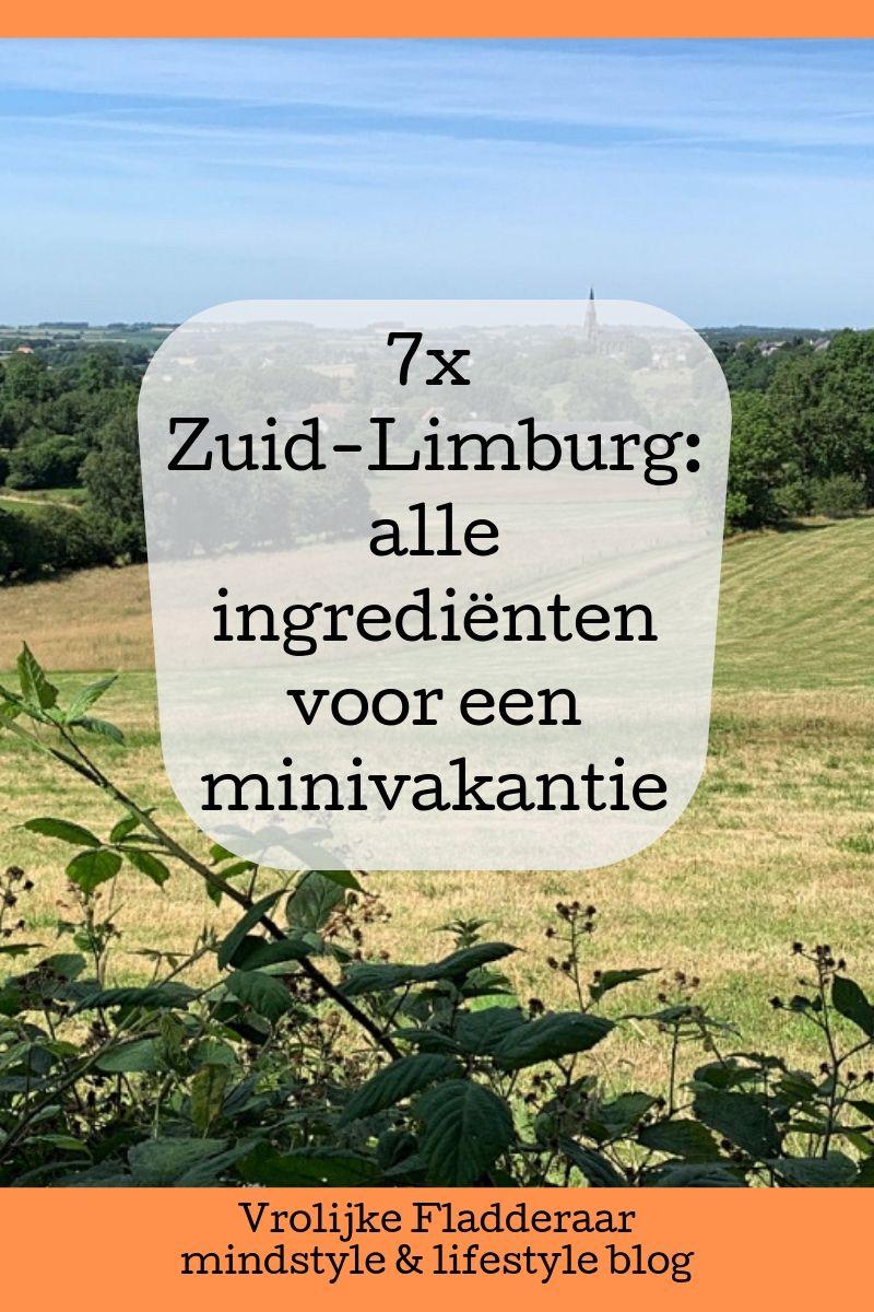 pinterest pin met tekst '7x zuid-limburg: alle ingredienten voor een minivakantie' met bergdorpje Vijlen op de achtergrond