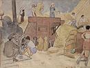 Parní Mlátička, 1930 ( kresba tužkou kolor. akvarelem/  papír, 32 x 42 cm, pasparta, sklo, rám,vpravo dole razítko sbírky Dr. Čeřovského)