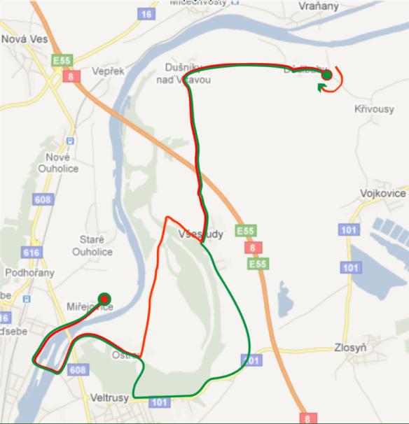 mapa trati Miřejovického půlmaratónu