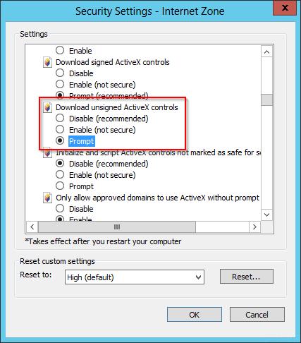 Server 2012 Internet Explorer v10 error : An add-on for this
