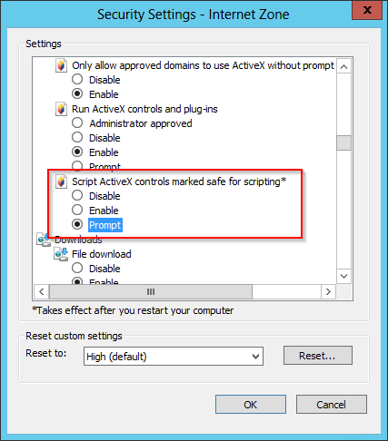 server 2012 internet explorer v10 error an add on for this websitecheck all of these options