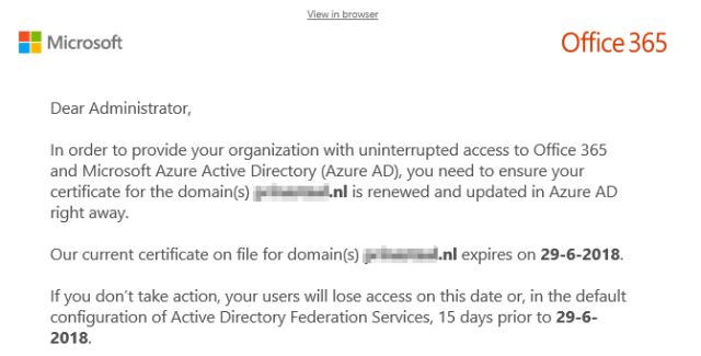 Solved] How to update ADFS certificate local and online Office 365