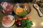 Ингредиенты для горохового супа с копченостями