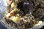 Начинка: жареный лук с белыми грибами и картофель