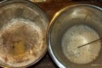 Сухие и жидкие ингредиенты яблочного хлеба