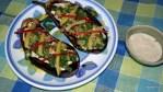 Жареные баклажаны под соусом из кунжутных семечек