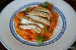 Тальятелли из моркови с куриными грудками приготовленные в посуде Zepter