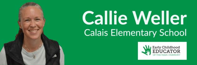 Callie Weller smiling against green background