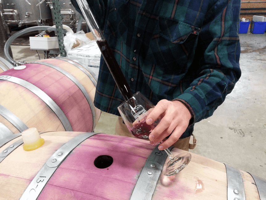 Image of staff drawing wine from a barrel for tasting