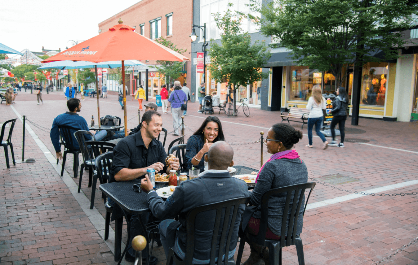 Image of people dining at Halvorson's on Church Street Marketplace