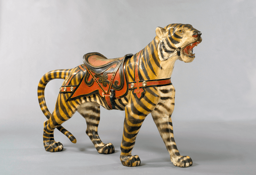 Image of a Gustav Dentzel Carousel Company Carousel Tiger 1951 at Shelburne Museum