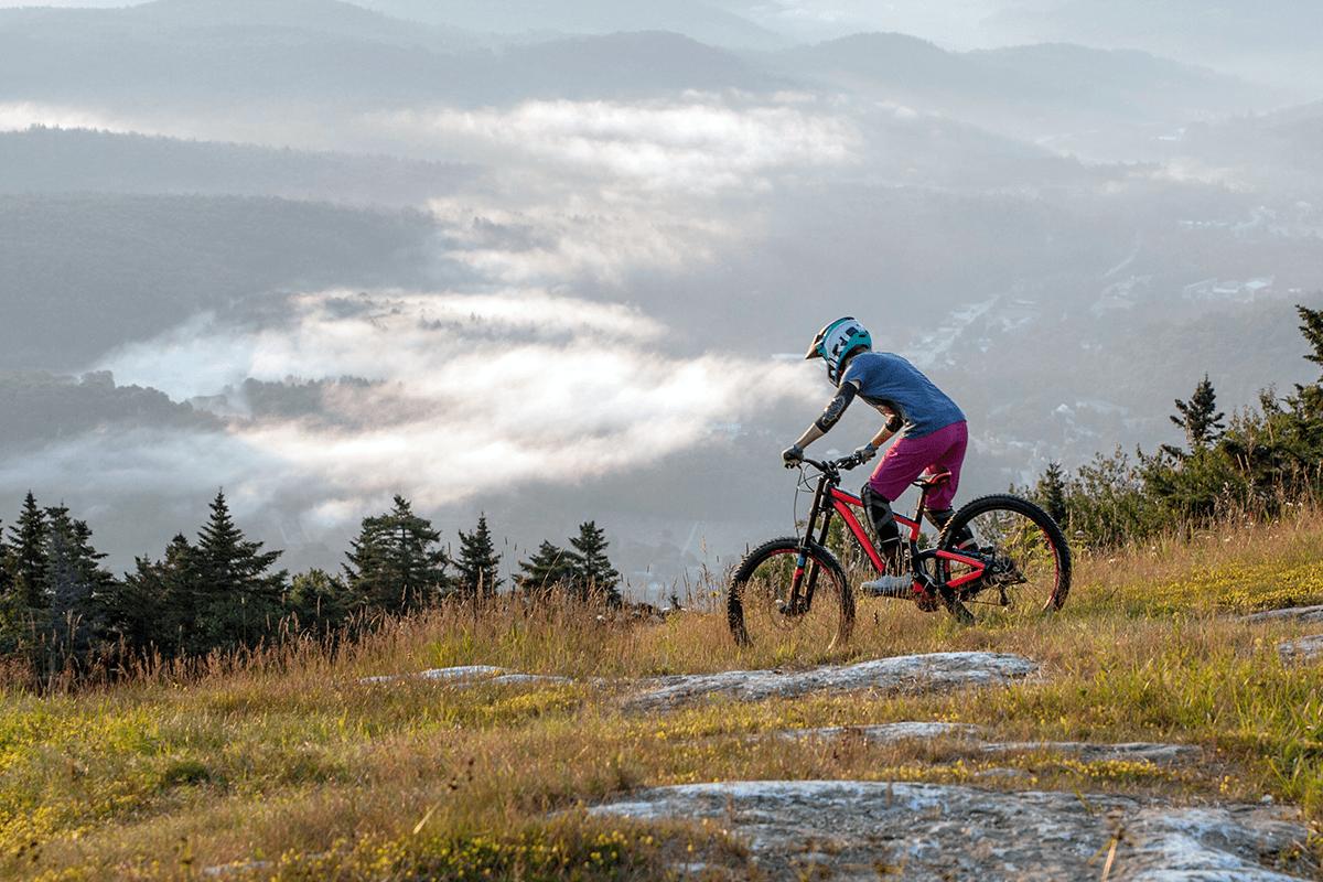 Image of a mountain biker at Okemo Mountain Resort