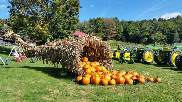 Image of a cornucopia made of hay at Morse Farm Sugarworks