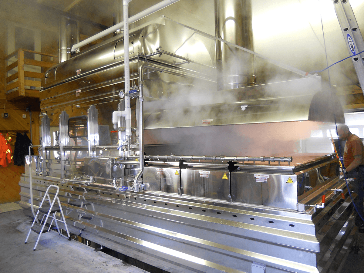 Image of evaporator boiling at Goodrich's Maple Farm