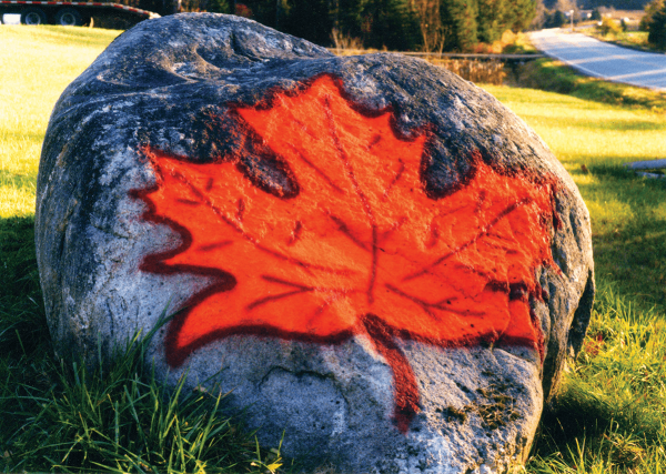 Image of maple leaf painted on a boulder at Goodrich's Maple Farm