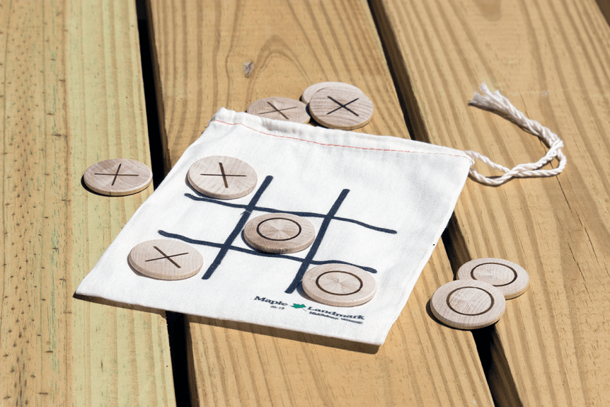 Wooden tic tac toe game from Maple Landmark Woodcraft