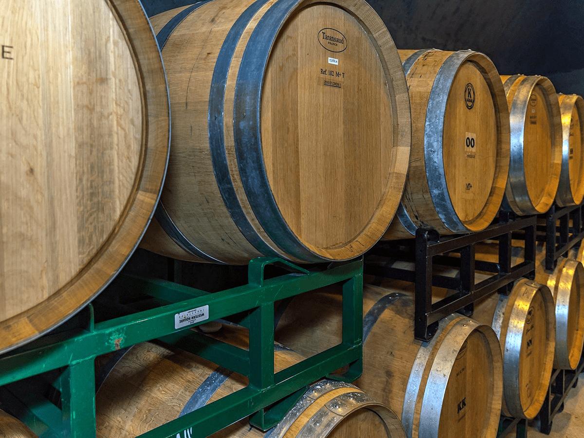 Image of wine barrels at Fresh Tracks Farm, Vineyard & Winery