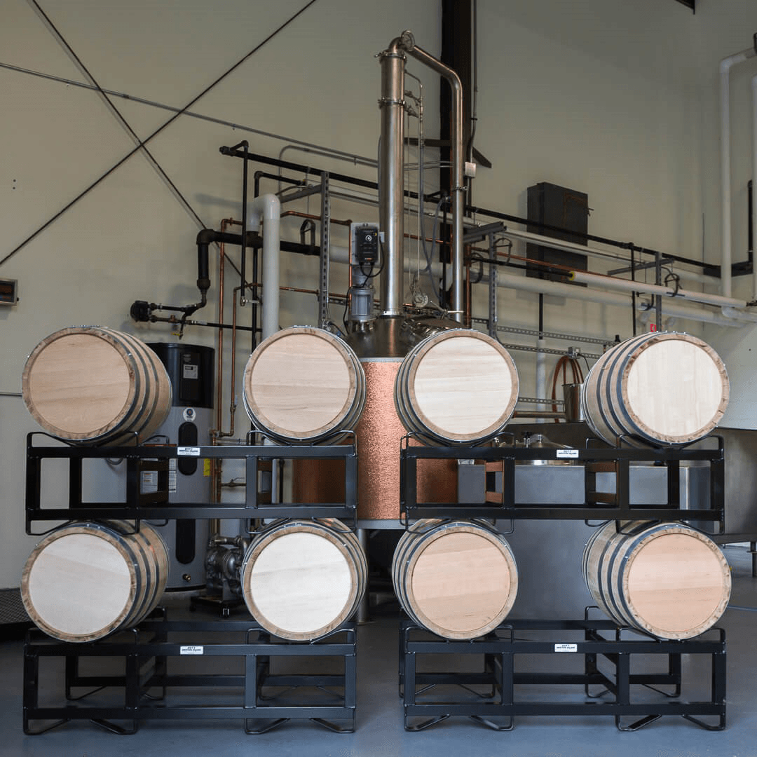 Image of casks on racks at Old Route Two Spirits