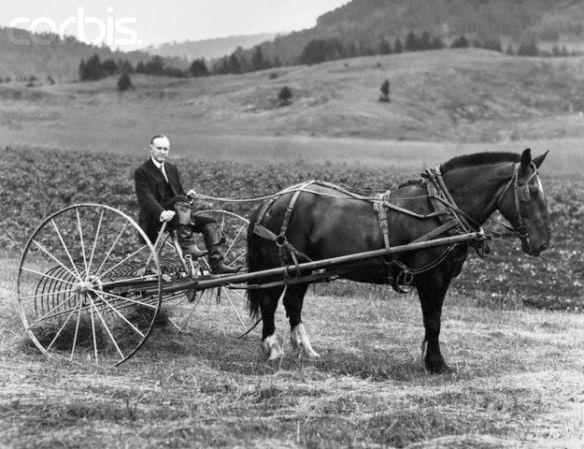 Image of President Calvin Coolidge sitting on a hay rake on display at the President Calvin Coolidge Vermont State Historic Site
