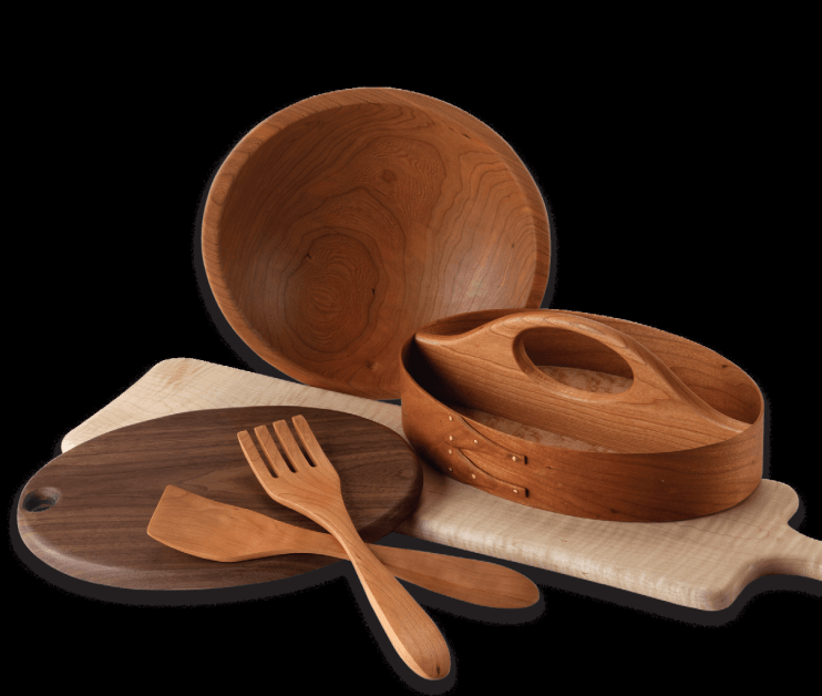 Image of hardwood utensils from Rockledge Farm Woodworks