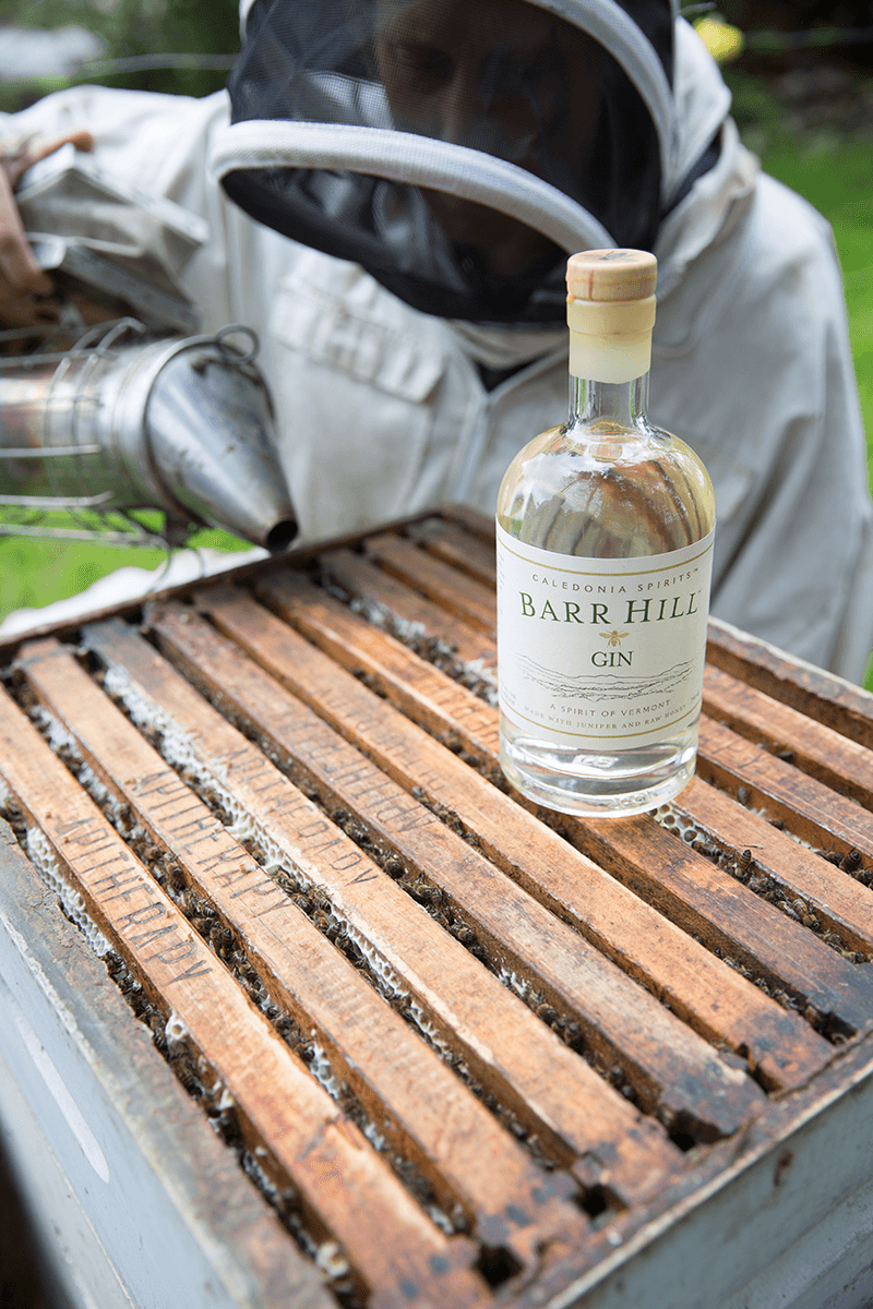Image of a bottle of Barr Hill Gin sitting on an apiary stack