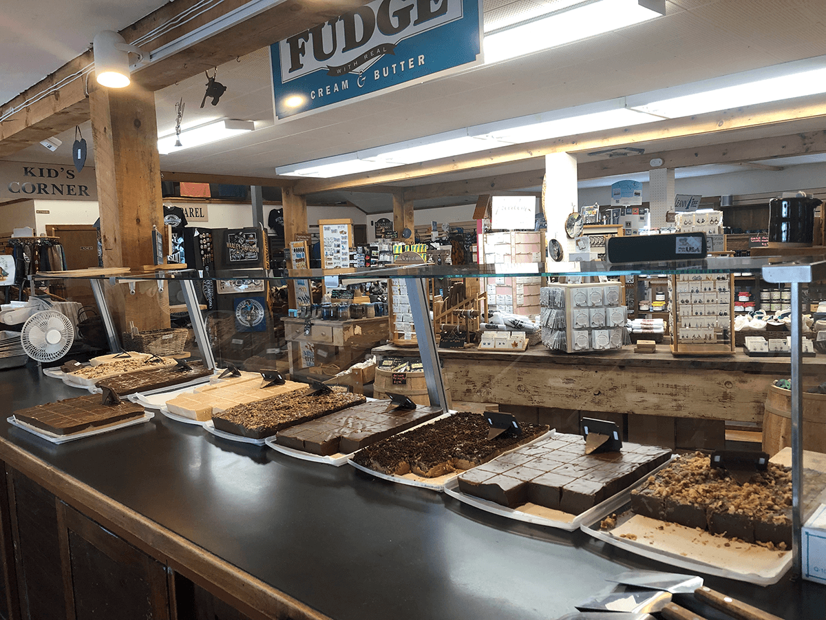 Image of fudge display at Hogback Mountain Country Store