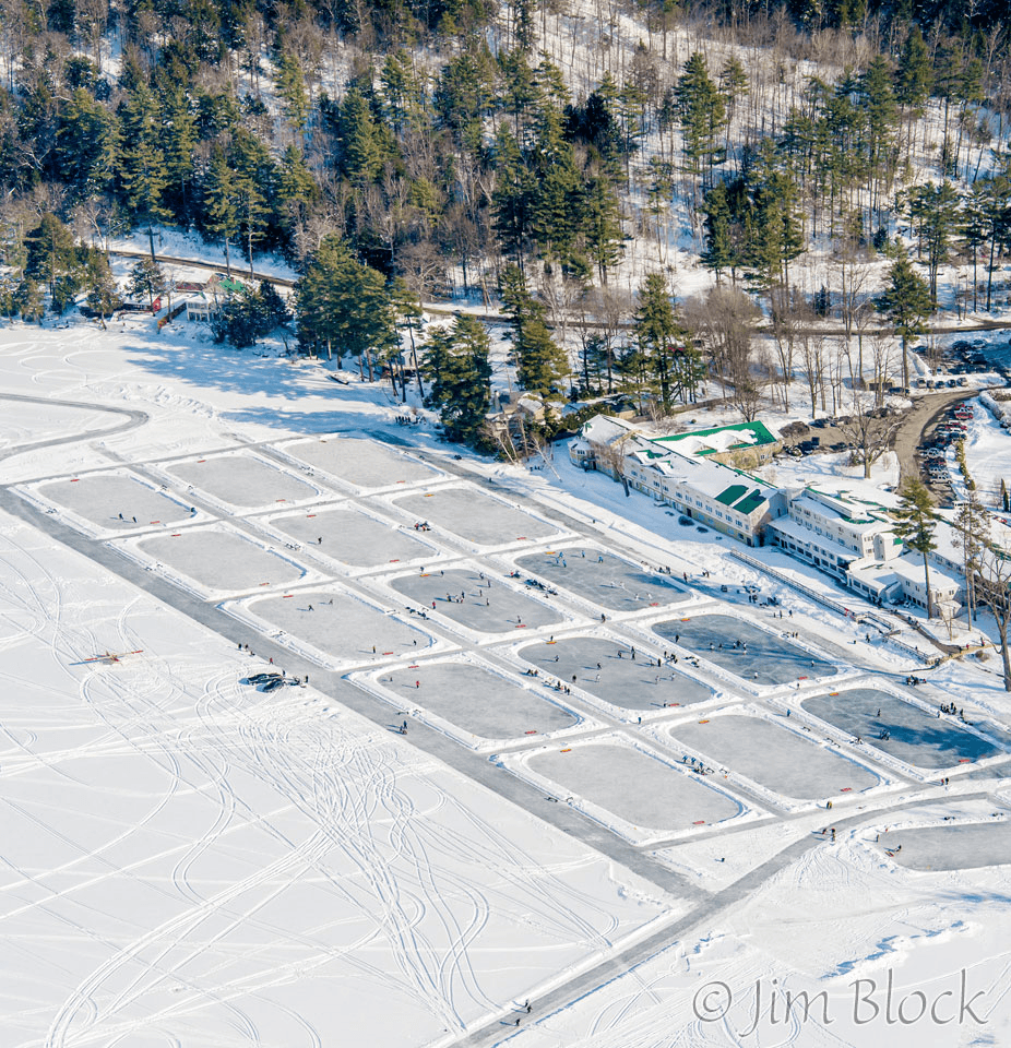 Image of the hockey rinks at Lake Morey Resort taken from high above
