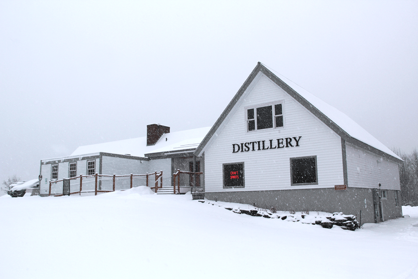 Image of the distillery in the snow at Vermont Distillers